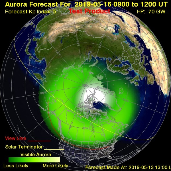 Pronóstico de auroras boreales para el 16 de mayo, realizado por la Administración Nacional Oceánica y Atmosférica: el Centro de Predicción del Clima Espacial
