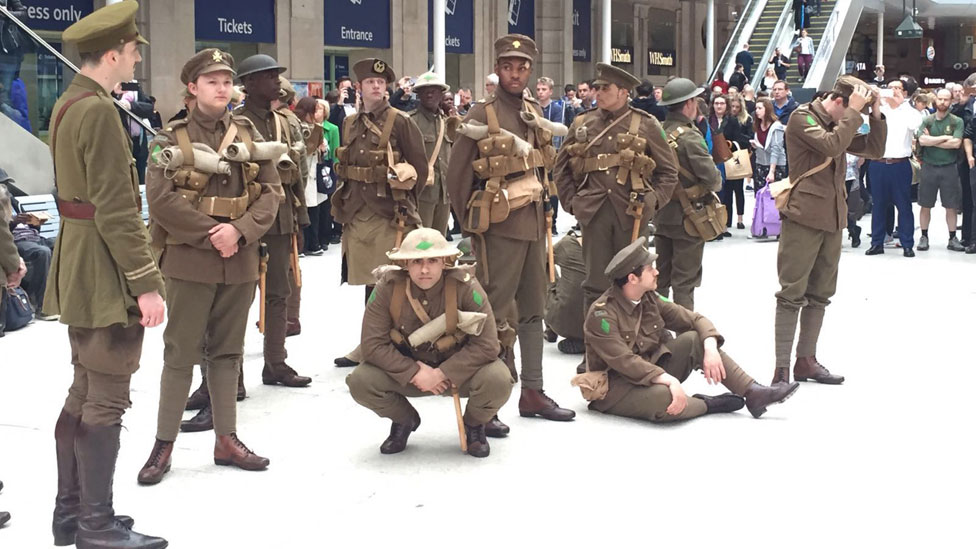 'Ghost Tommies' at Waterloo Station in London