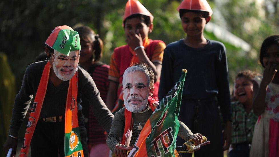 Uttar Pradesh children play with propaganda material