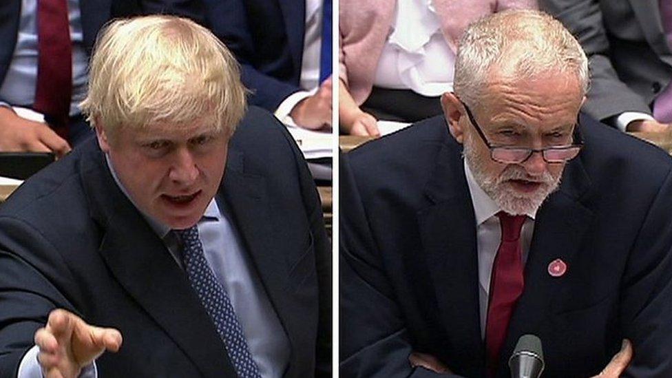 首相約翰遜(左)與反對黨領袖科爾賓