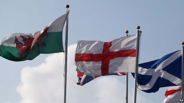 Welsh, English and Scottish flags