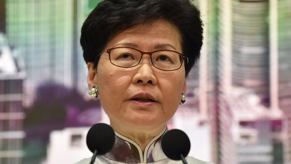 Hong Kong Chief Executive Carrie Lam speaks during a press conference at the government headquarters in Hong Kong on June 15, 2019.
