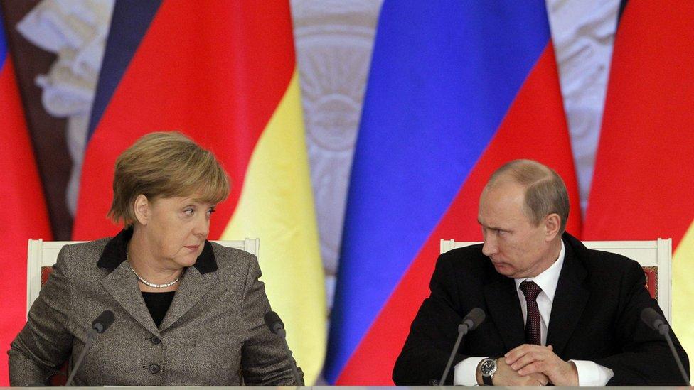 Merkel y Putin en el Kremlin en 2012