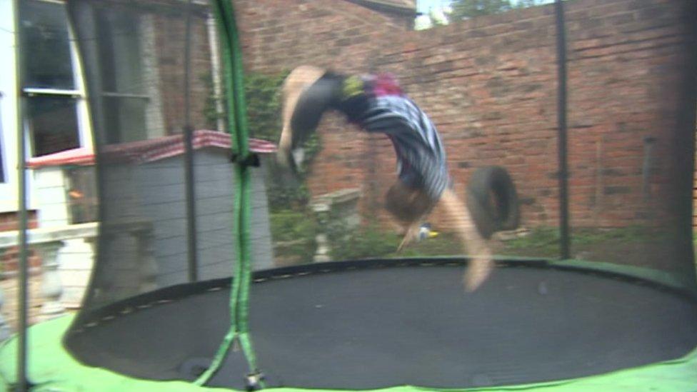 Max Clark on his trampoline