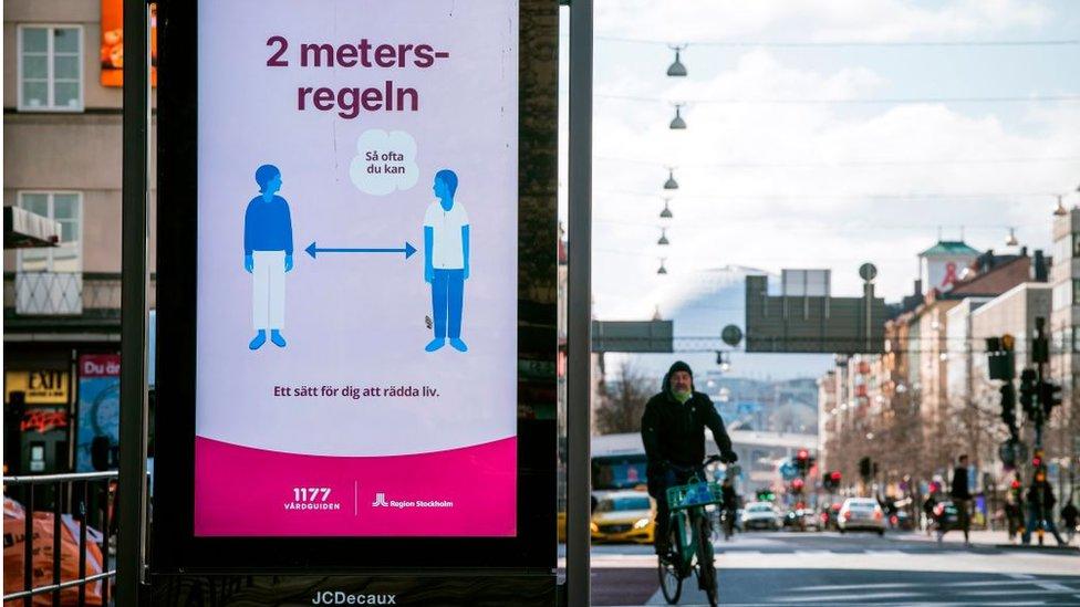 Distanciamiento social en Suecia