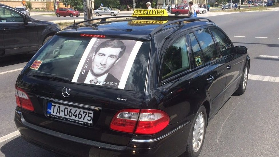 A Sarajevo taxi displays a picture of Robert De Niro
