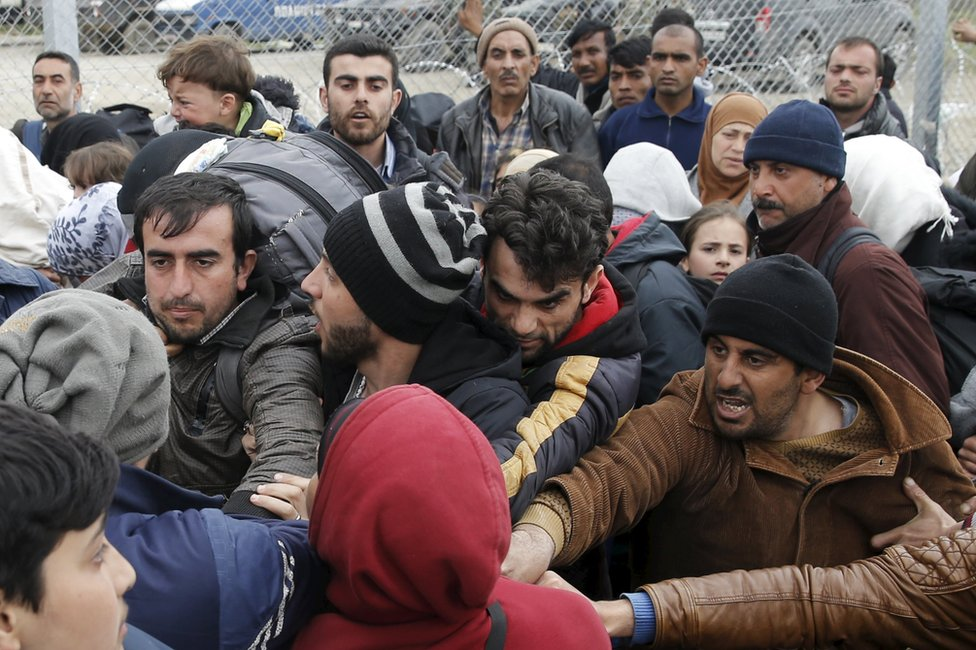 Migrants camping near the Idomeni border crossing in northern Greece, 5 March