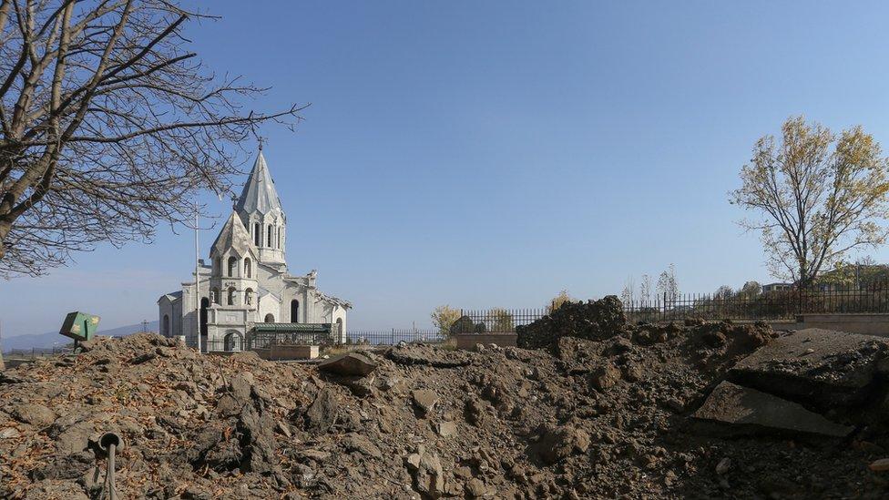 La catedral de Ghazanchetsots (Santo Salvador) en Shusha, Nagorno Karabaj