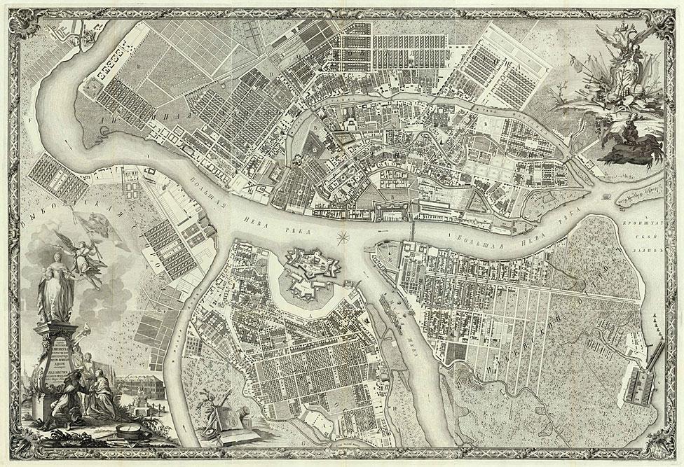 Mapa de San Petersburgo 50 años después de ser fundada por el zar Pedro el Grande en 1703.