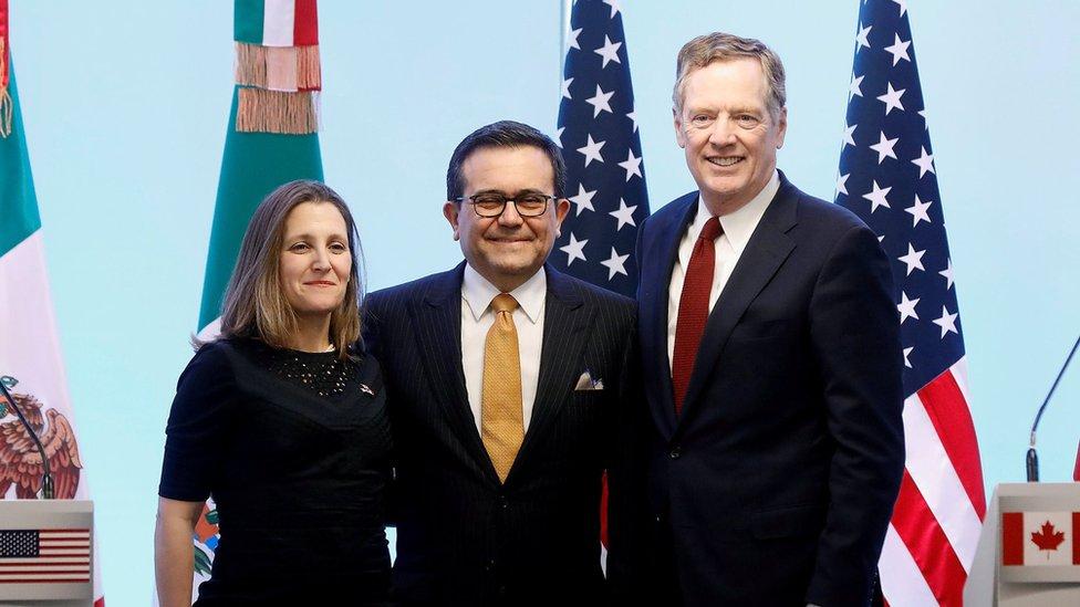Chrystia Freeland, Ildefonso Guajardo y Robert Lighthizer
