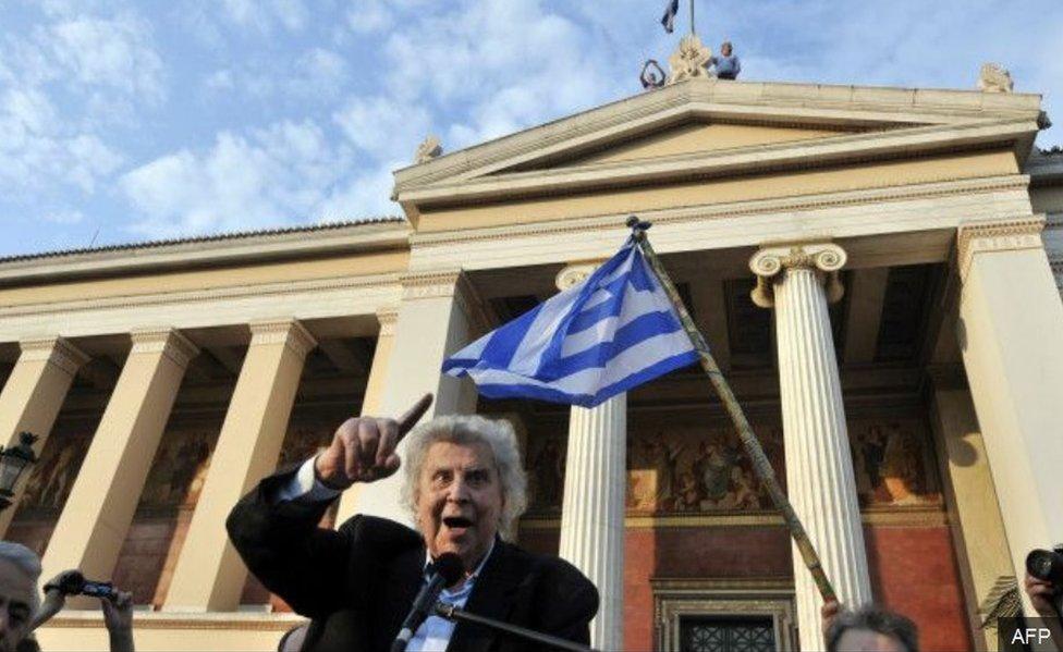 Theodorakis en el Parlamento
