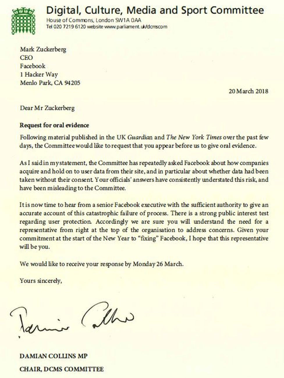 Letter from Damian Collins to Mark Zuckerberg