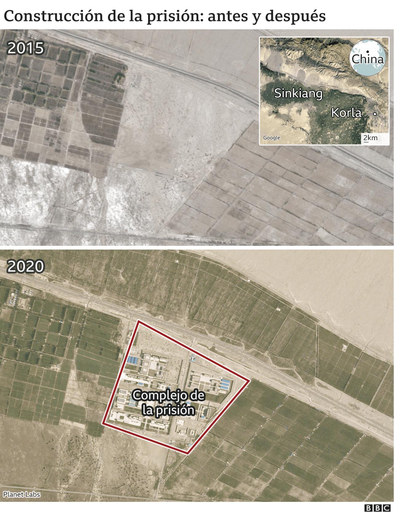 Mapa satelital del terreno donde se ha construido