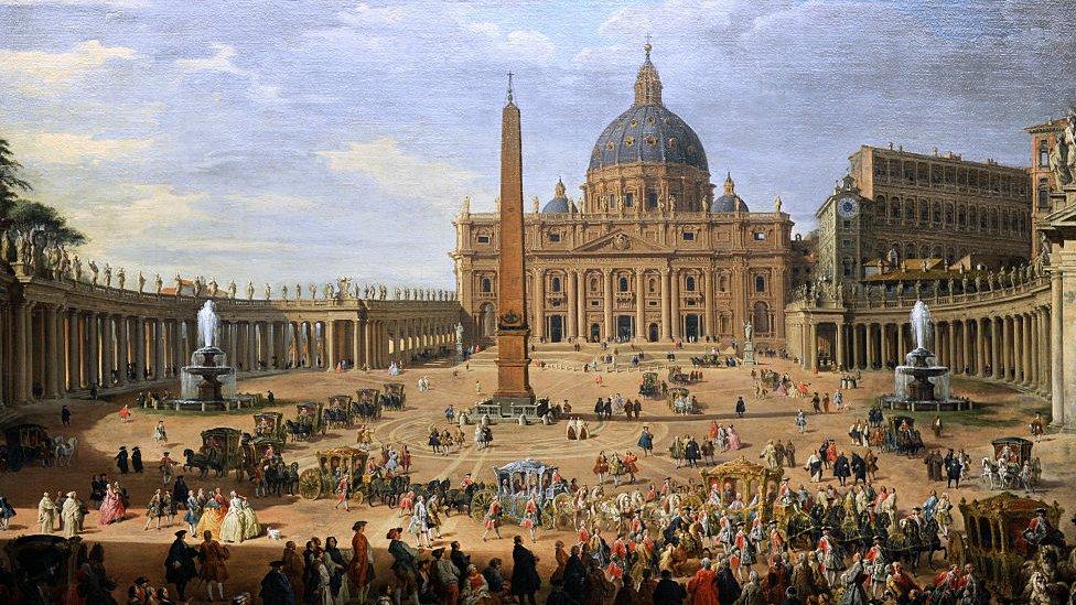 Cuadro del siglo XVII de la Plaza de San Pedro en El Vaticano.