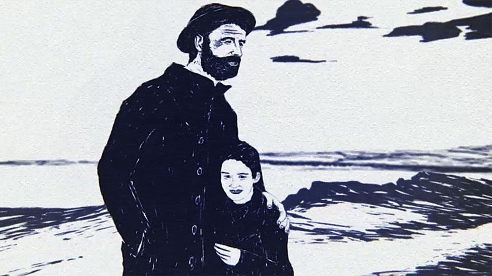 Hombre abrazando a la niña