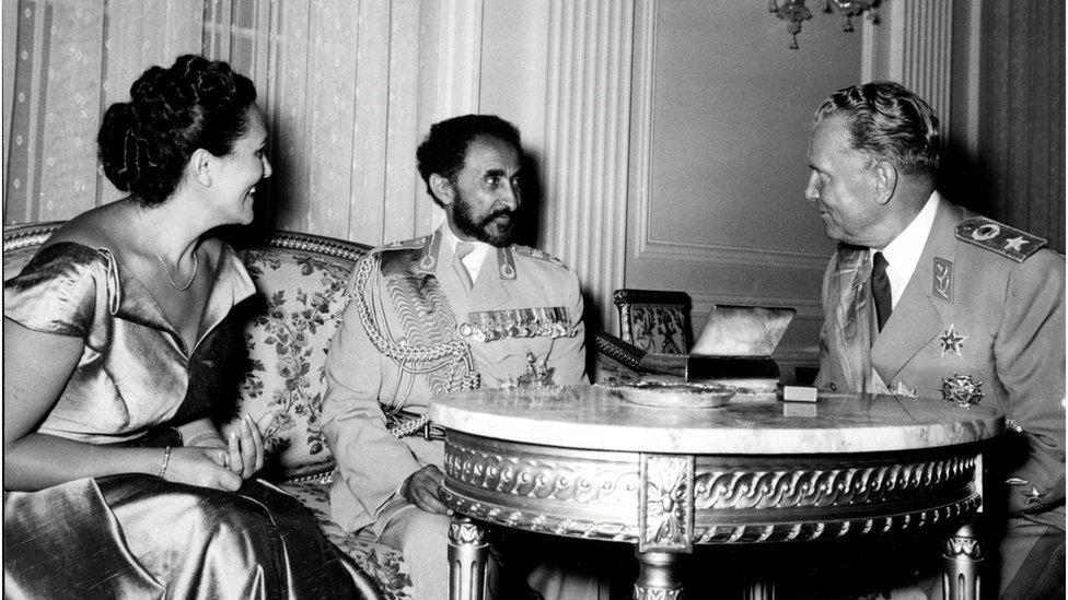Poseta cara Hajla Selasija Beogradu: prva poseta predsedniku Titu u Belom dvoru, 20.07.1954.