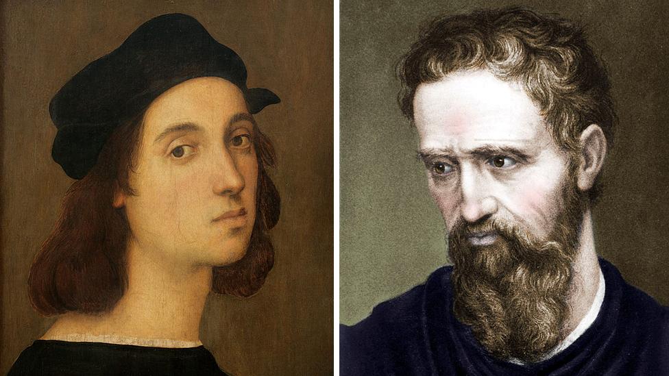 Rafael y Miguel Ángel, ambos autorretratos.