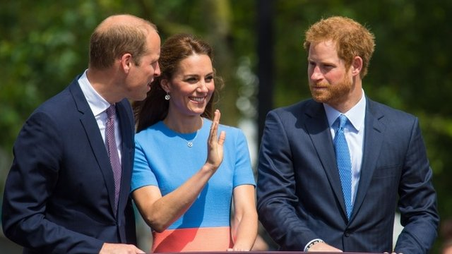 Prince William, Kate, the Duchess of Cambridge and Prince Harry wave to the crowds during the Patron's Lunch