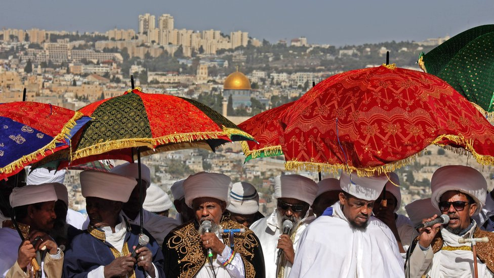 Religious leaders from Ethiopian-Jewish community leading prayers in Jerusalem, Israel - Wednesday 27 November 2019