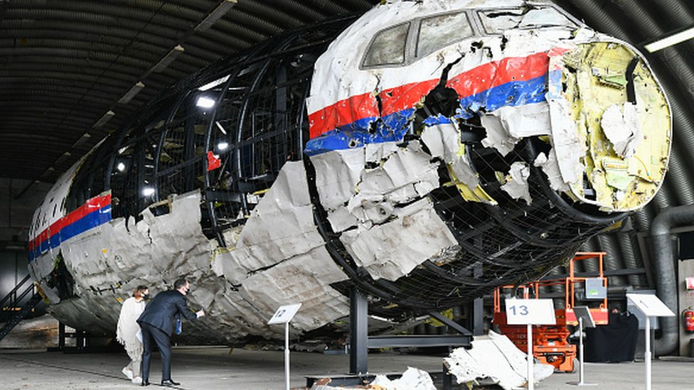 A reconstruction of the wreckage of the Malaysia Airlines plane