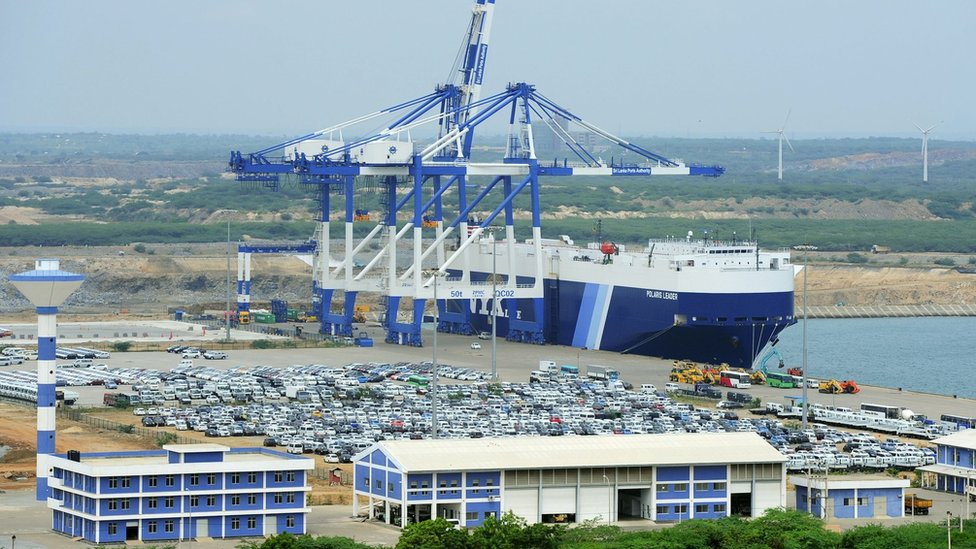 A general view of Sri Lanka's deep sea port facilities at Hambantota on February 10, 2015