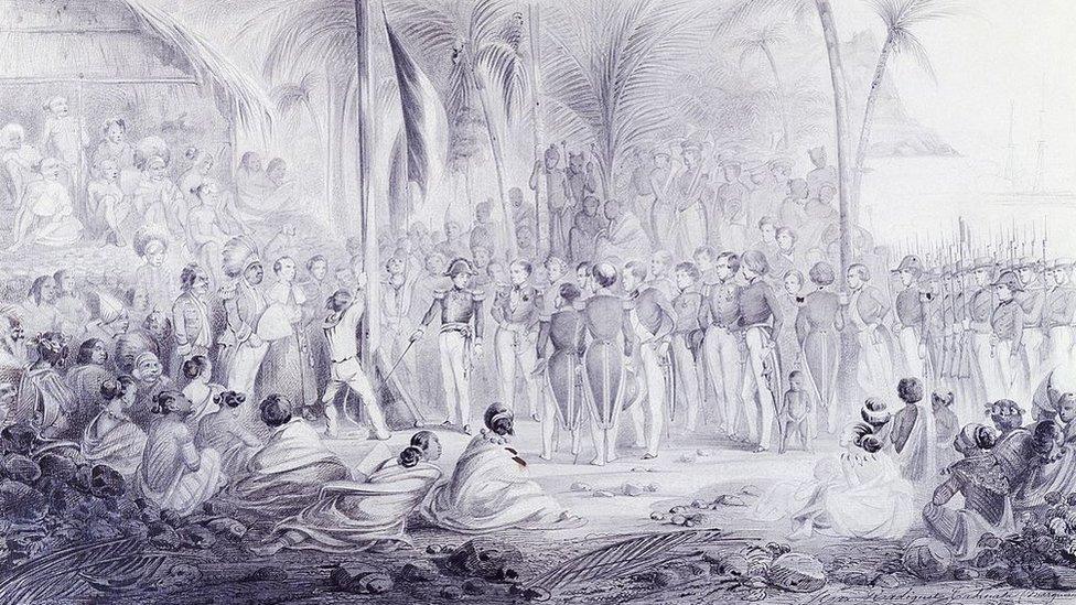 Abel Aubert du Dupetit-Thouars (1793-1864) en Tahuata, islas Marquesas, dibujado por Maximilien Radiguet-Rene (1816-1899), 1842.