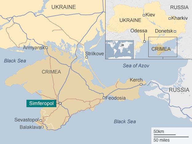 A map of Crimea showing its proximity to Ukraine and Russia