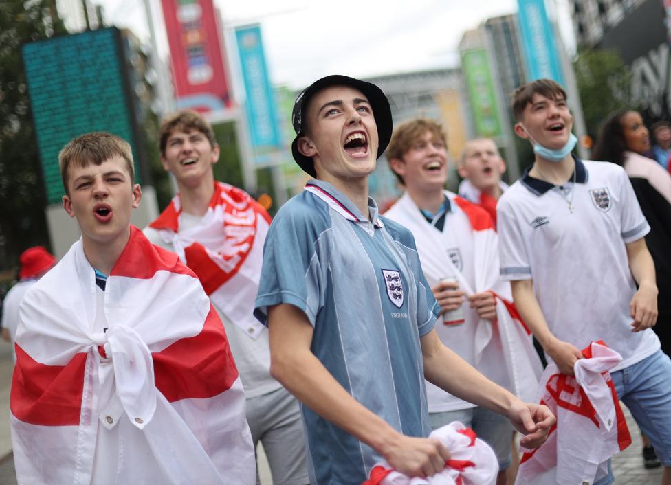 Fans gather for Italy v England at Wembley Stadium, London, 11 July 2021
