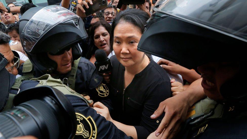 Keiko Fujimori al llegar al tribunal el martes 28 de enero de 2020