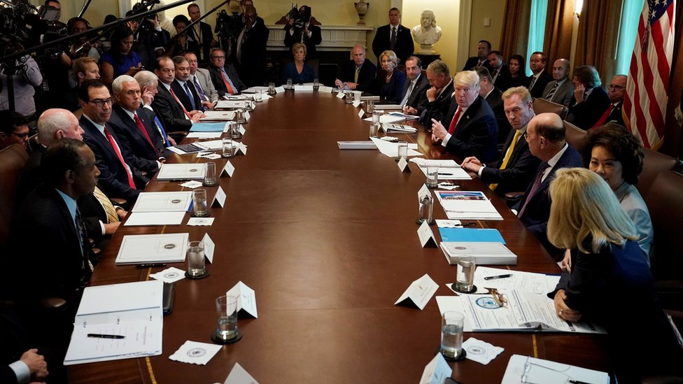 U.S. President Donald Trump addresses members of his cabinet and the news media as he holds a cabinet meeting at the White House in Washington, U.S., August 16, 2018.