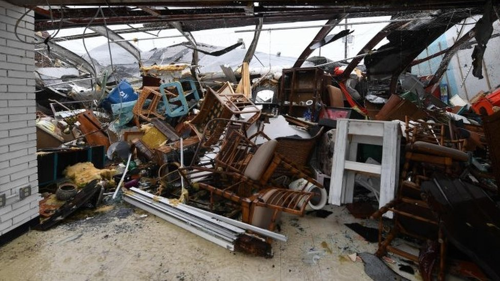 Damage to a store after Hurricane Harvey hit Rockport (26 August 2017)