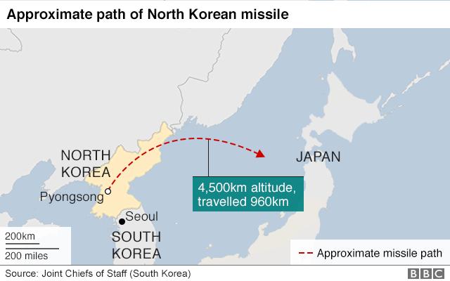Map of North Korean missile fired on 29 November 2017