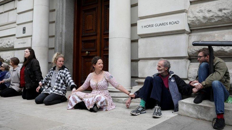 Protesters block the Treasury