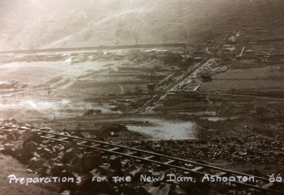 Postcards of preparations for dam