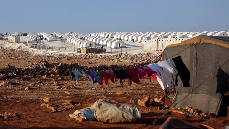 A camp for displaced people near the Syrian town of Atimeh, Idlib province (11 September 2018)