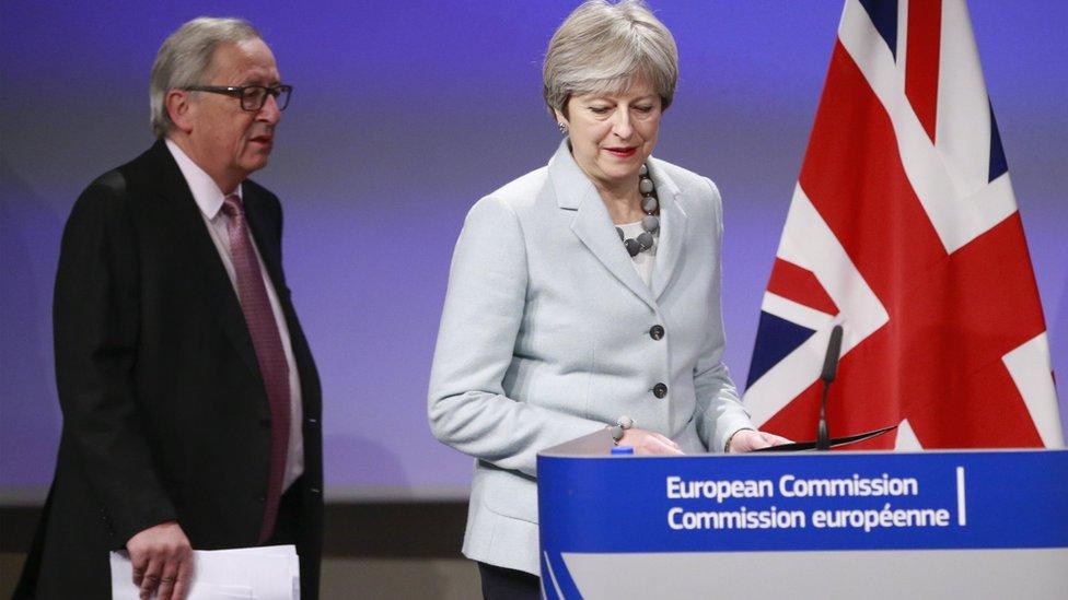 Theresa May and Jean-Claude Juncker at press conference