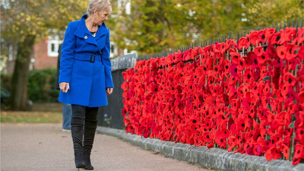 Lyn Leech looks at some of the woollen poppies have been hung on the railings at Winchester Cathedral, Hampshire to recall the poppy fields of Flanders. The installation will remain until 19 November, as part of First World War commemorations.