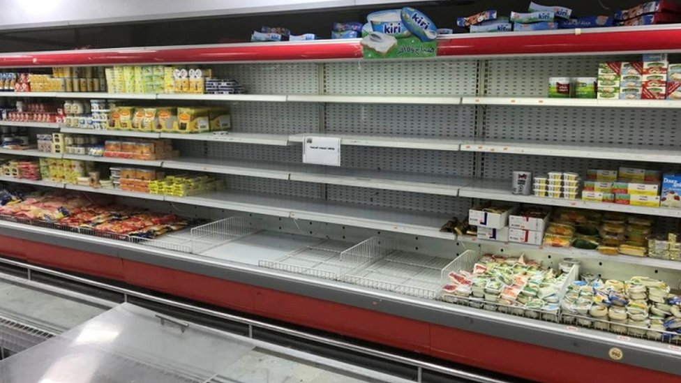 Empty shelves were seen where French products were displayed at Kuwaiti supermarkets