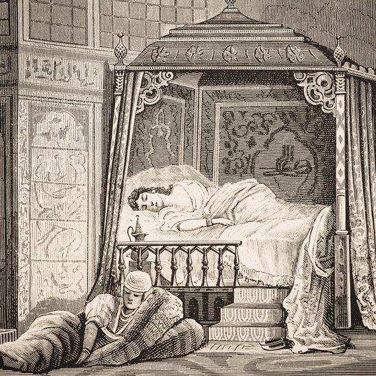 Ilustración del dormitorio de la esposa de un sultán.