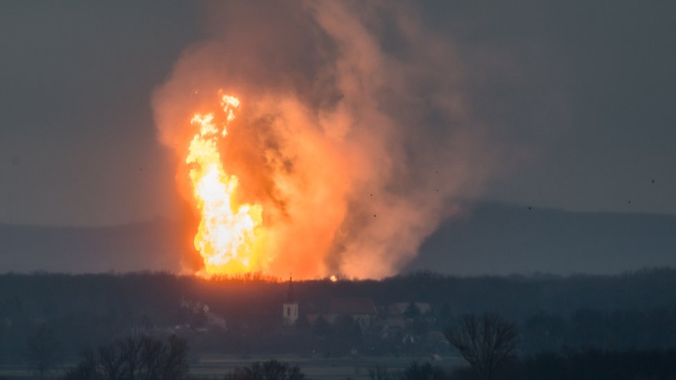 Fire at Austria's main gas pipeline hub at Baumgarten, Eastern Vienna, 12 December
