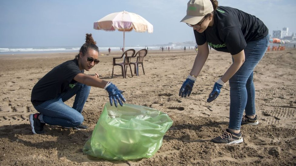 Voluntarios limpiando una playa.