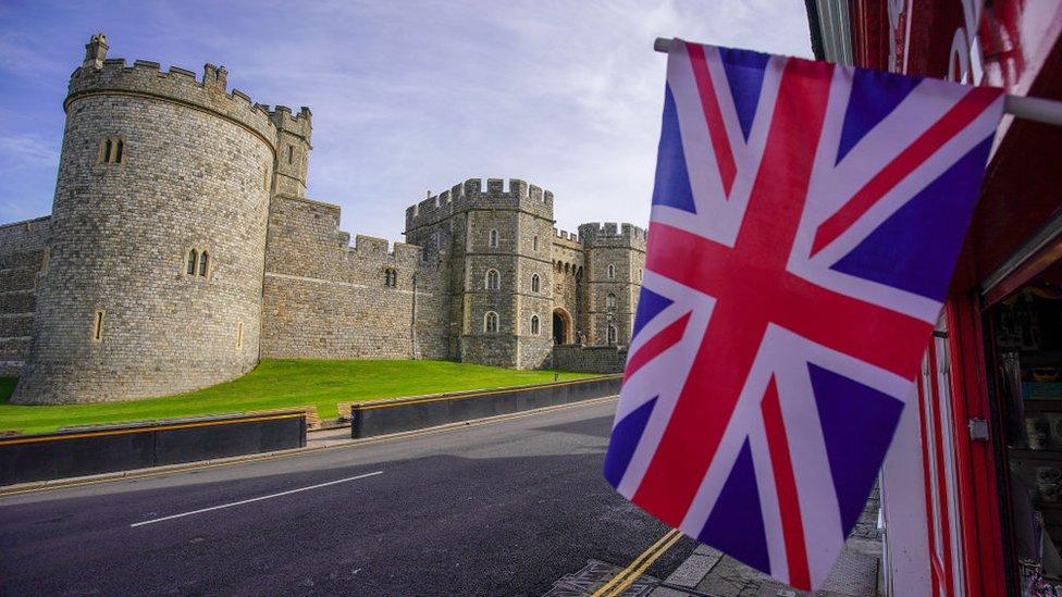 Union Jack flag outside Windsor Castle