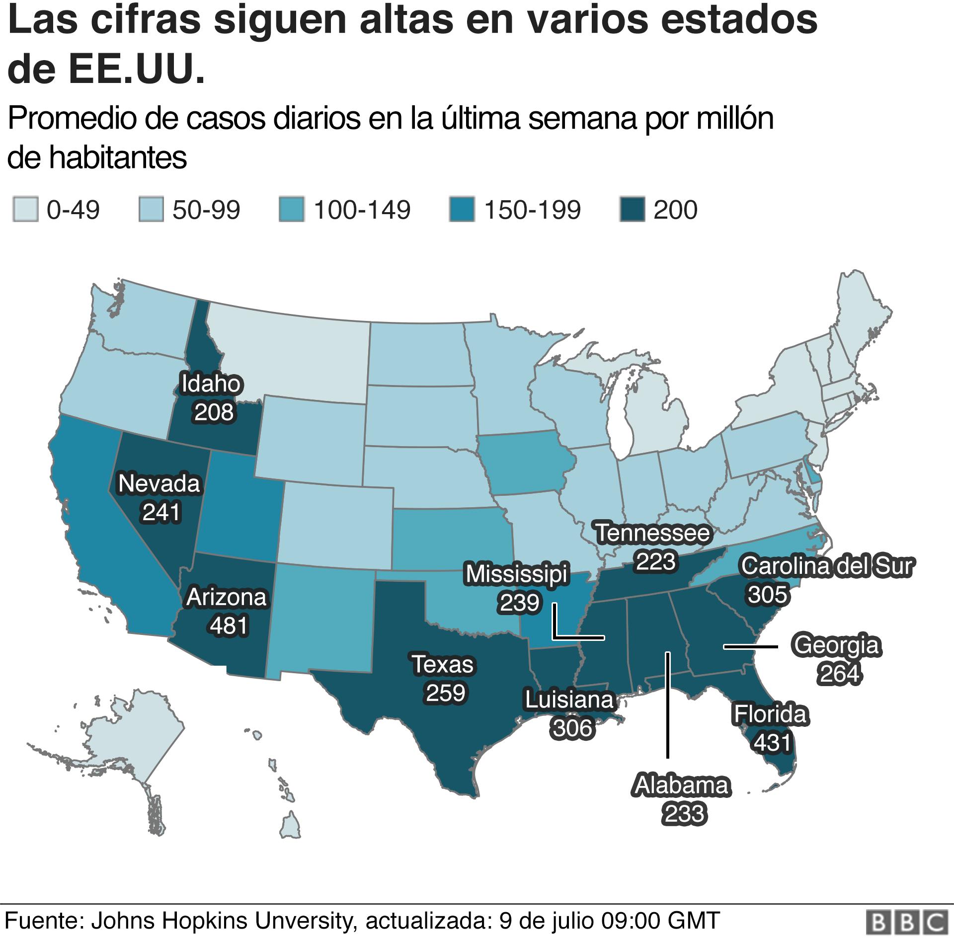 Mapa que muestra número de casos por estado