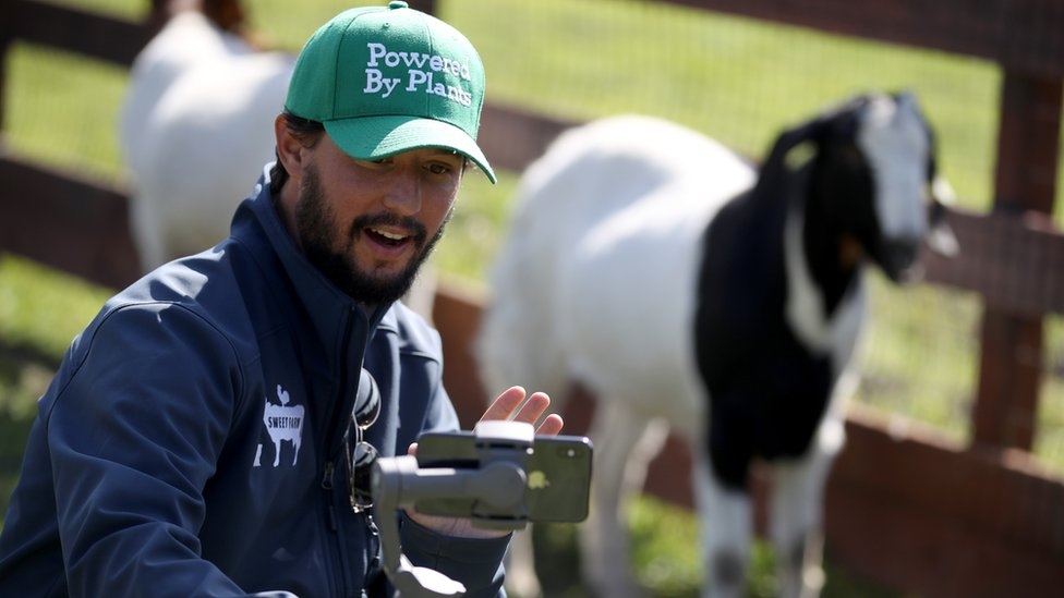 A man holds an iPhone on a stabilising rig while he kneels down next to a goat on his farm