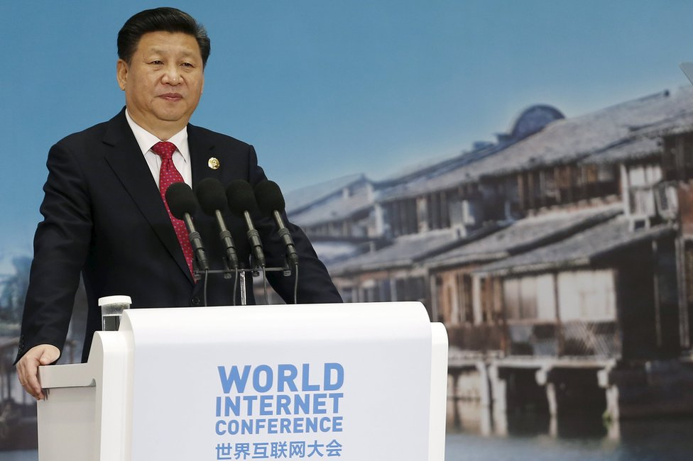 China's President Xi Jinping speaks during the opening ceremony of the 2nd annual World Internet Conference in Wuzhen town of Jiaxing, Zhejiang province, China, 16 December 16 2015.