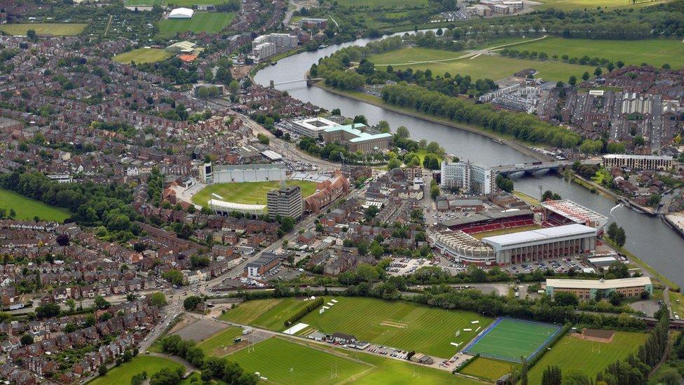 Trent Bridge area of Nottingham