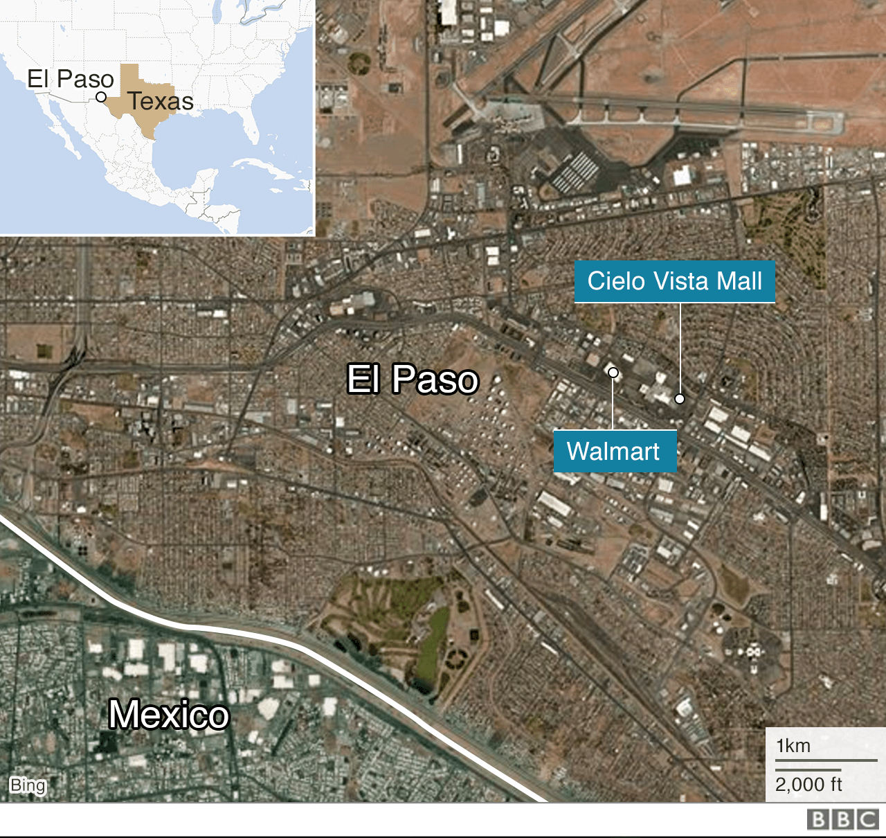 A map shows the location of the shooting