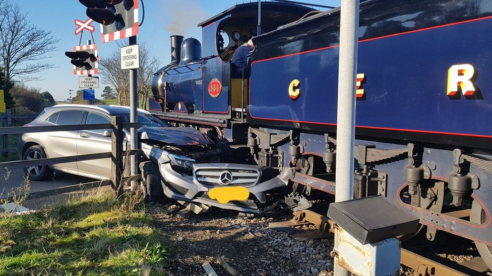 Steam engine hits car at Sheringham level crossing