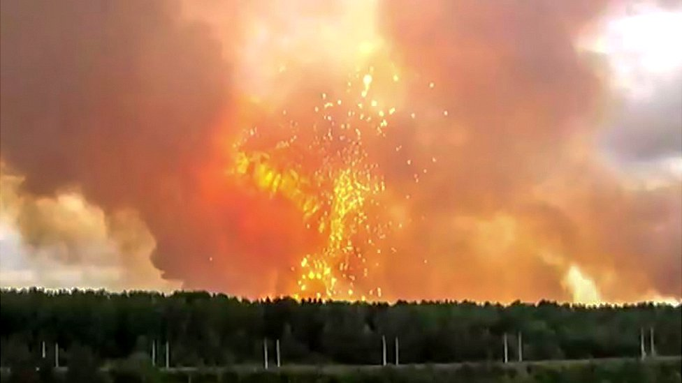 Russian ammunition explosion near Achinsk, 5 Aug 19