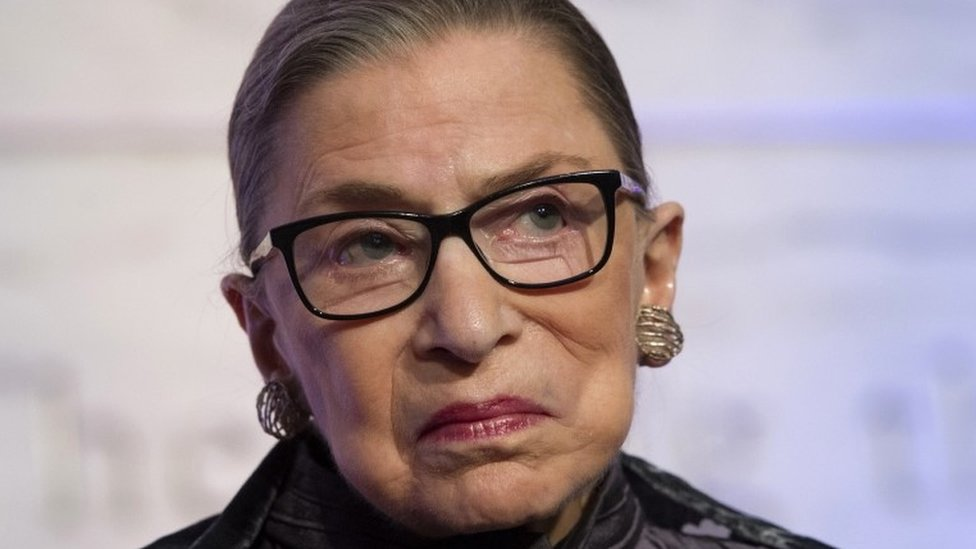 Supreme Court Justices Ruth Bader Ginsburg speaks in Washington.